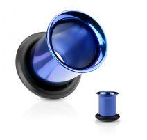 Piercing tunnel bleu avec anneau caoutchouc