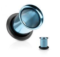 Piercing tunnel bleu clair avec anneau caoutchouc