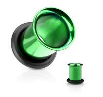 Piercing tunnel vert avec anneau caoutchouc