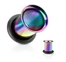 Piercing tunnel multicolore avec anneau caoutchouc
