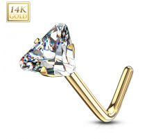 Piercing nez or jaune 14 carats zircon triangle