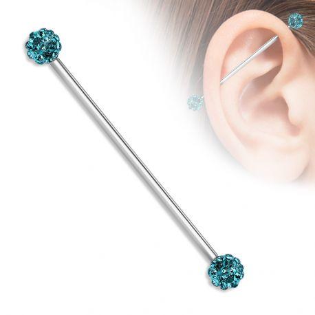 Piercing industriel boules pavées cristaux turquoise