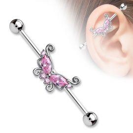 Piercing industriel papillon pierres roses