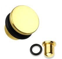 Piercing plug tête plate titanium doré