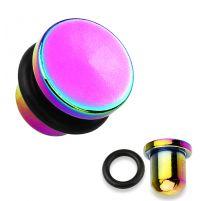 Piercing plug tête plate titanium multicolore