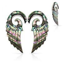 Paire de piercing écarteur spirale ailes d'ange nacre abalone