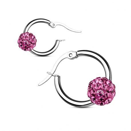 Paire boucles d'oreille anneaux boule cristal rose