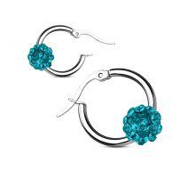 Paire boucles d'oreille anneaux boule cristal turquoise