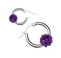 Paire boucles d'oreille anneaux boule cristal tanzanite