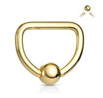Piercing anneau Captif D acier doré