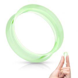 Piercing tunnel en silicone vert ultra souple