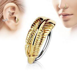 Piercing nez anneau plume dorée