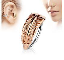 Piercing nez anneau plume rosée