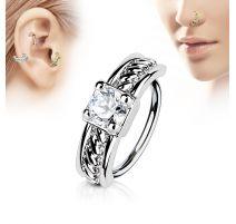 Piercing nez anneau gemme blanc