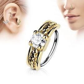 Piercing nez anneau doré gemme blanc