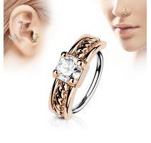 Piercing nez anneau rosé gemme blanc