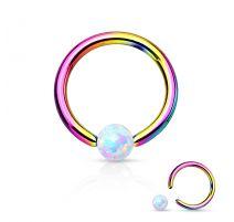 Piercing anneau captif or multicolore opaline blanche