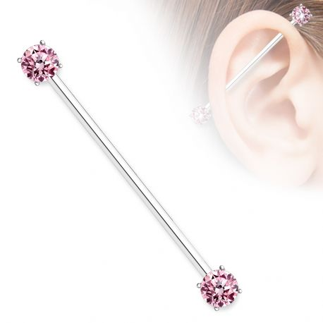 Piercing industriel double zirconium rose