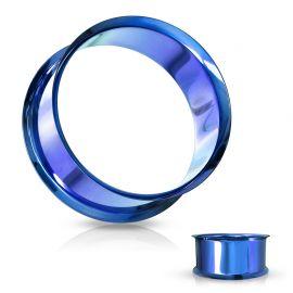 Piercing tunnel creux oreille en acier bleu