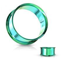 Piercing tunnel creux oreille en acier vert