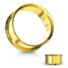 Piercing tunnel creux oreille en acier doré