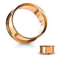 Piercing tunnel creux oreille en acier or rose