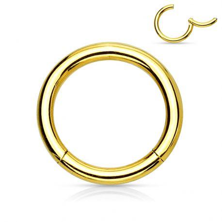 Piercing anneau segment clipsable acier chirurgical doré