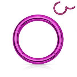 Piercing anneau segment clipsable acier chirurgical violet