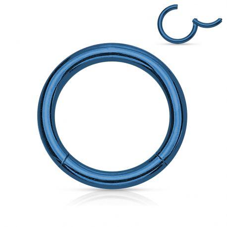 Piercing anneau segment clipsable acier chirurgical bleu