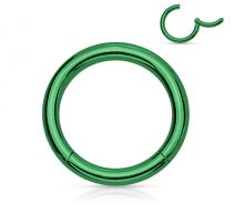 Piercing anneau segment clipsable acier chirurgical vert