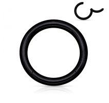 Piercing anneau segment clipsable acier chirurgical noir
