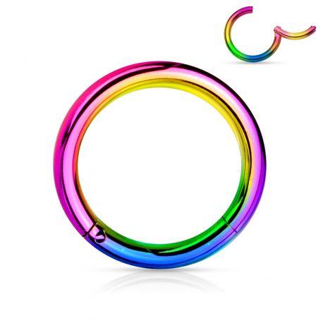 Piercing anneau segment clipsable acier chirurgical multicolore