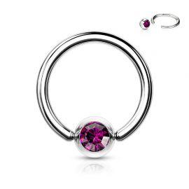 Piercing anneau Captif Strass Violet