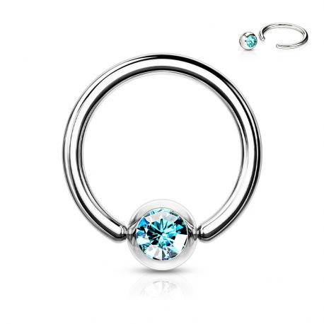 Piercing anneau Captif Strass Turquoise