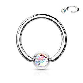Piercing anneau Captif Strass Aurore Boréale