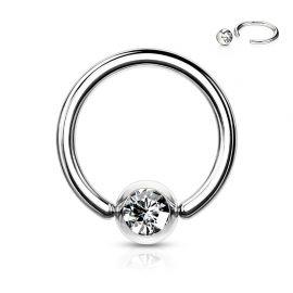 Piercing anneau Captif Strass Blanc