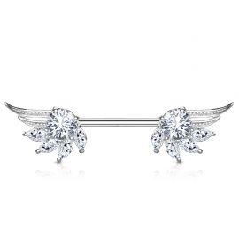 Piercing téton ailes d'ange zirconium marquise