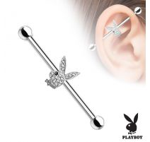 Piercing industriel Playboy serti de cristaux