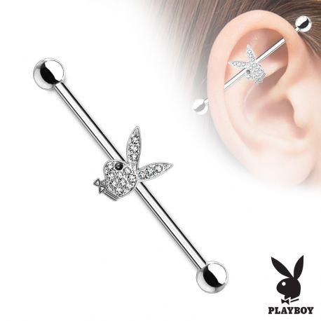 Piercing industriel Playboy serti de cristaux