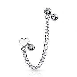 Double piercing cartilage oreille chaine coeur