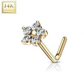 Piercing nez Or jaune 14 carats fleur pierres blanches