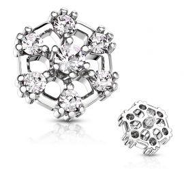 Piercing microdermal hexagone sept strass