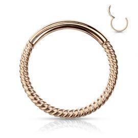 Piercing anneau segment clipsable tressé acier chirurgical or rose