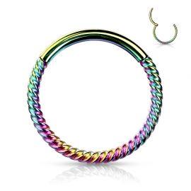 Piercing anneau segment clipsable tressé acier chirurgical multicolore
