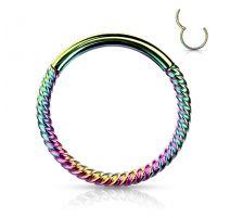 Piercing anneau segment clipsable tressé acier chirurgical doré