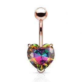 Piercing nombril rosé coeur cristal aurore boréale multicolore