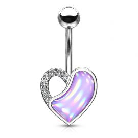 Piercing nombril coeur pierre lumineuse violette