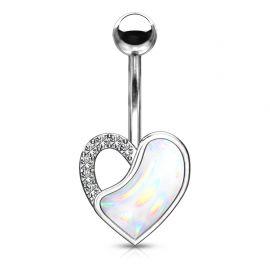 Piercing nombril coeur pierre lumineuse blanche