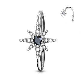 Piercing nez anneau étoile strass noir