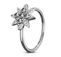 Piercing nez anneau étoile pavée de strass